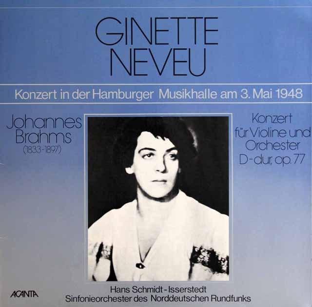 ヌヴー&イッセルシュテットのブラームス/ヴァイオリン協奏曲 独ACANTA 2927 LP レコード