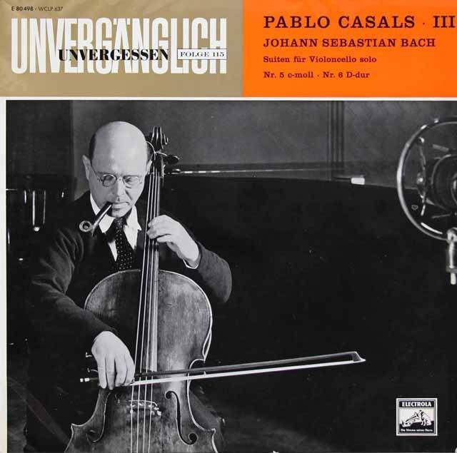 カザルスのバッハ/無伴奏チェロ組曲第5&6番 独EMI 3399 LP レコード