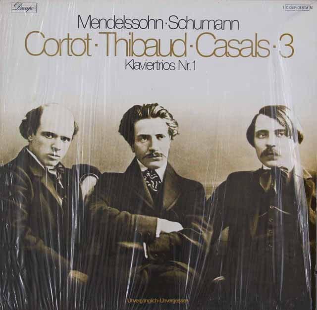 コルトー、ティボー&カザルスのメンデルスゾーン&シューマン/ピアノ三重奏曲集  独EMI 2929 LP レコード