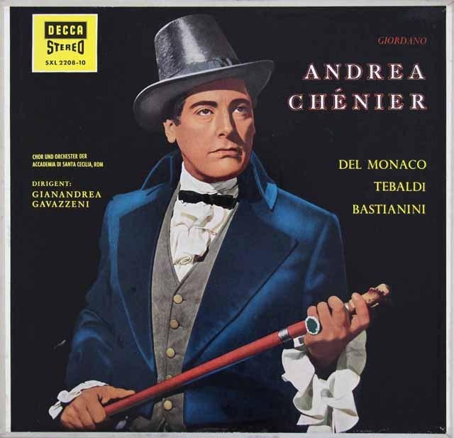 【独最初期盤】 デル=モナコのジョルダーノ/ 「アンドレア・シェニエ」全曲  独DECCA 2929 LP レコード