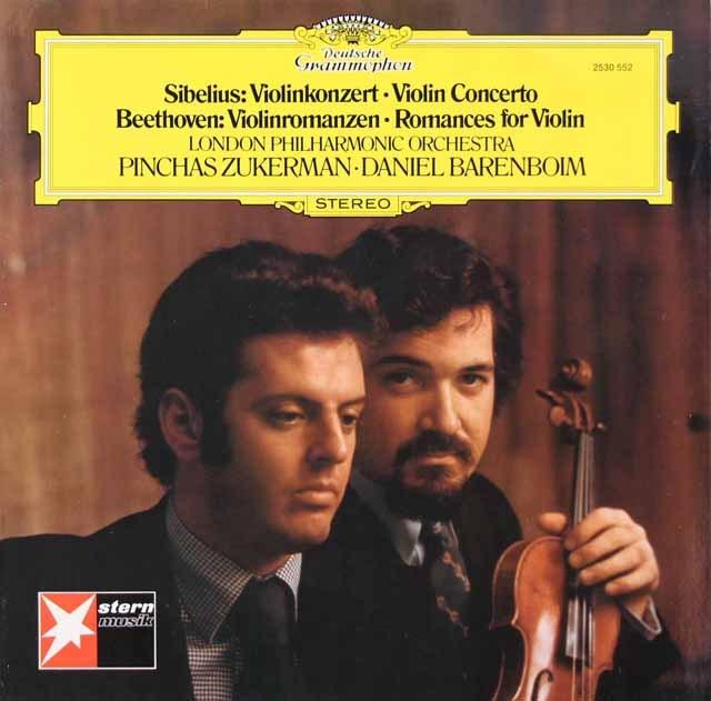 ズッカーマン&バレンボイムのシベリウス/ヴァイオリン協奏曲ほか  独DGG 2931 LP レコード