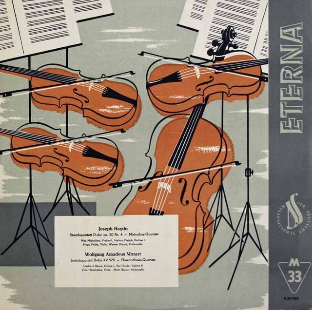 ゲヴァントハウス四重奏団のモーツァルト/弦楽四重奏曲第21番ほか 独ETERNA 2933 LP レコード