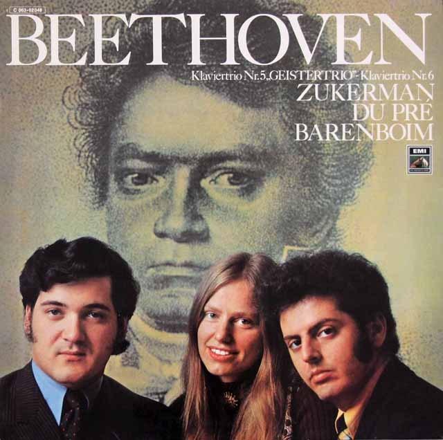 ズッカーマン、デュ・プレ&バレンボイムのベートーヴェン/ピアノ三重奏曲「幽霊」ほか 独EMI 3398 LP レコード