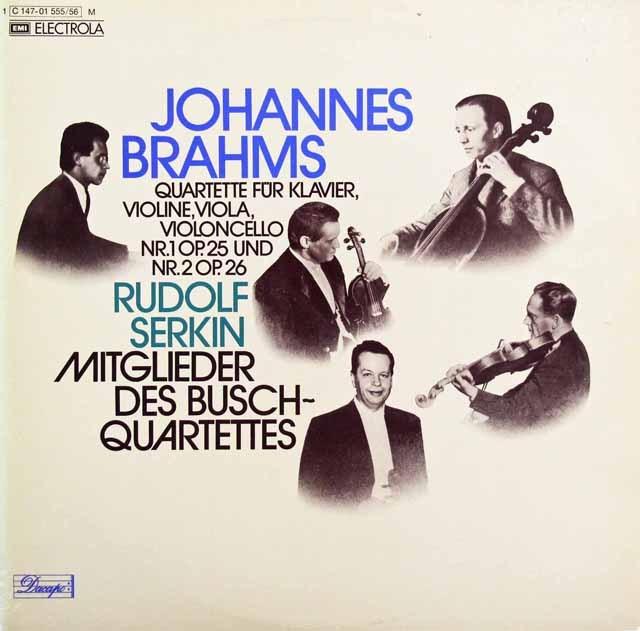 ゼルキン&ブッシュ四重奏団のブラームス/ピアノ四重奏曲第1&2番 独EMI 2933 LP レコード