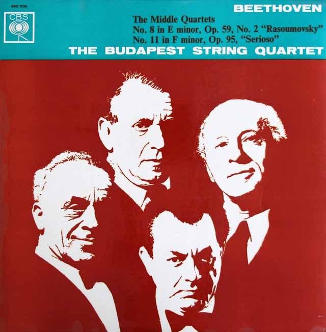 【モノラル】 ブダペスト四重奏団のベートーヴェン/弦楽四重奏曲第8&11番 英CBS 3398 LP レコード