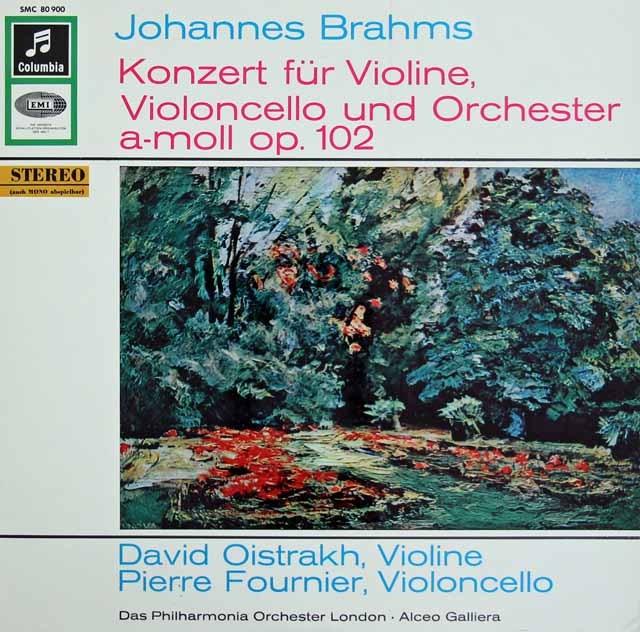 オイストラフ&フルニエのブラームス/ヴァイオリンとチェロのための二重協奏曲    独Columbia 2934 LP レコード