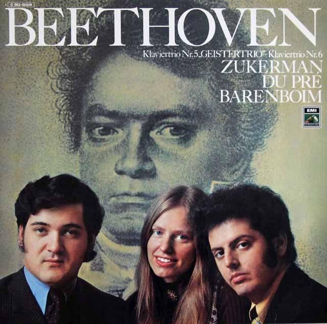 ズッカーマン、デュ・プレ&バレンボイムのベートーヴェン/ピアノ三重奏曲「幽霊」ほか 独EMI 3397 LP レコード