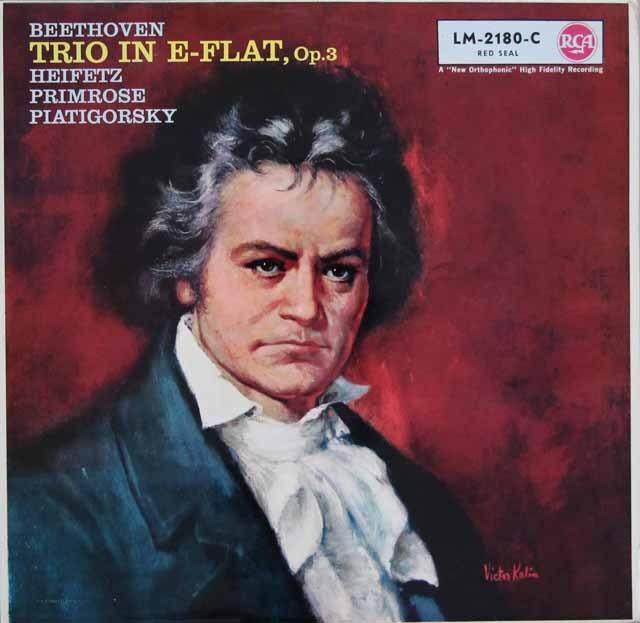 ハイフェッツらのベートーヴェン/弦楽三重奏曲第1番 独RCA 2937 LP レコード