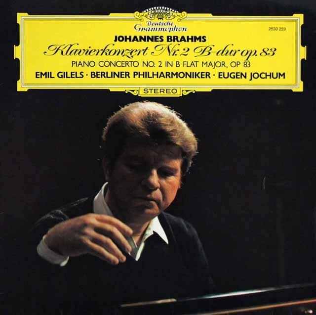 ギレリス&ヨッフムのブラームス/ピアノ協奏曲第2番 独DGG 2938 LP レコード