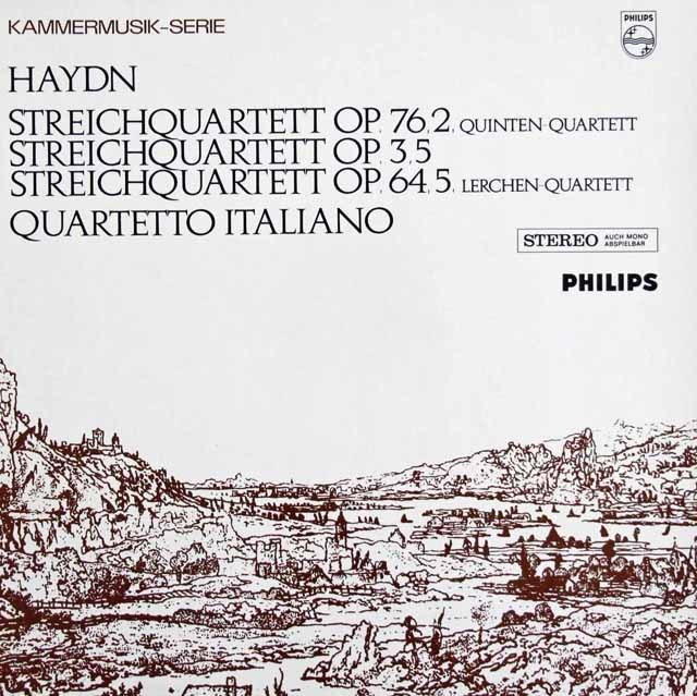 イタリア四重奏団のハイドン/弦楽四重奏曲第67番「ひばり」&76番「五度」  蘭PHILIPS 2938 LP レコード