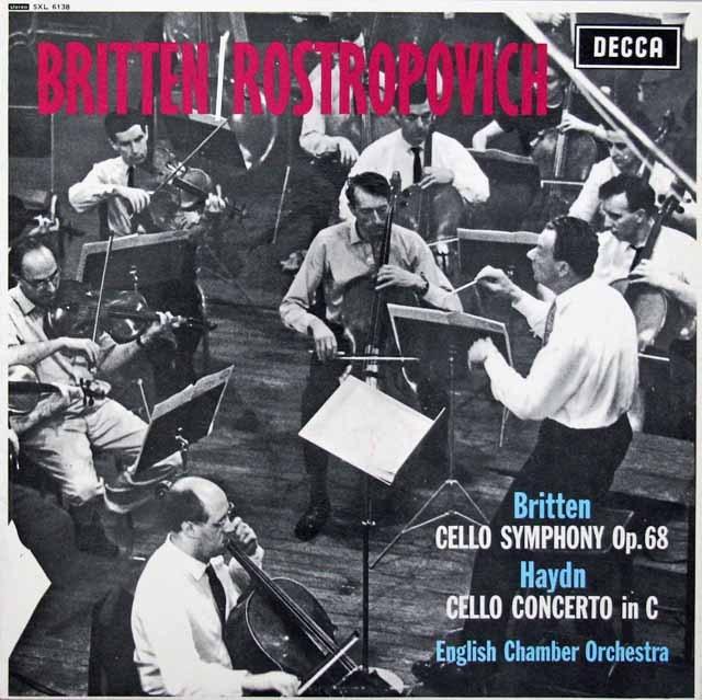 ロストロポーヴィチ&ブリテンのハイドン/チェロ協奏曲第1番ほか  英DECCA 3396 LP レコード
