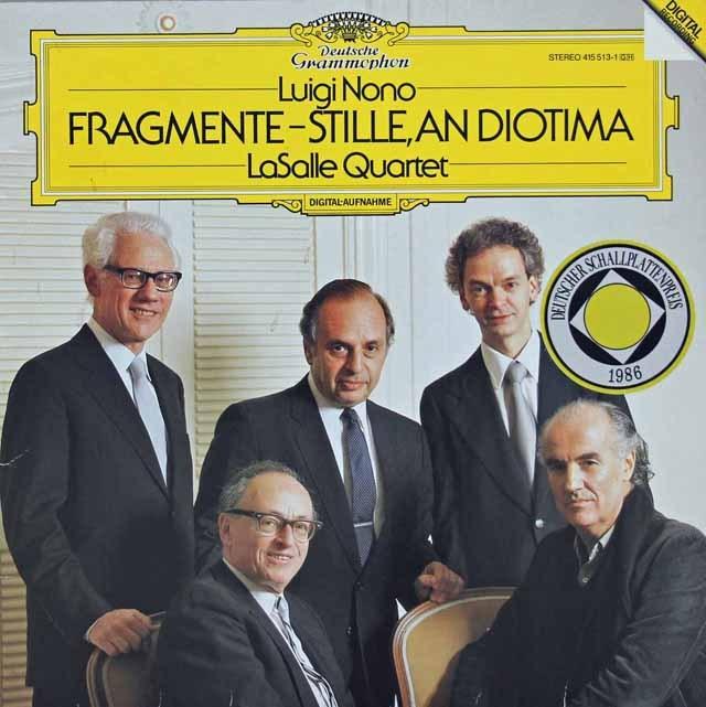 ラサール四重奏団のノーノ/弦楽四重奏のための「断片-静寂、ディオティーマへ」    独DGG 2941 LP レコード