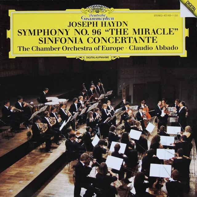 アバドのハイドン/交響曲第96番「奇跡」&協奏交響曲 独DGG 3396 LP レコード