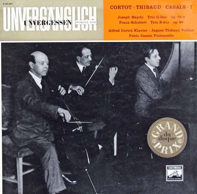 コルトー、ティボー&カザルスのハイドン&シューベルト/三重奏曲集  独ELECTROLA 2943 LP レコード