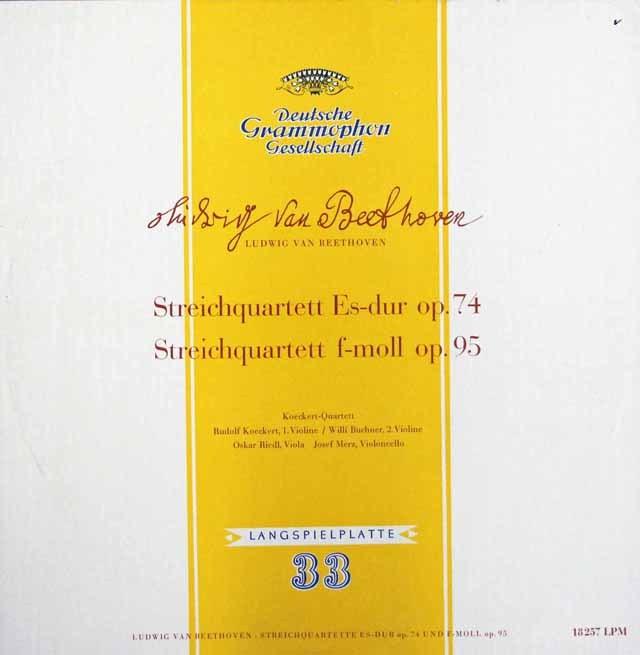 ケッケルト四重奏団のベートーヴェン/弦楽四重奏曲第10番「ハープ」&第11番「セリオーソ」    独DGG 2947 LP レコード