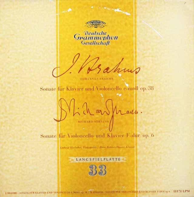ヘルシャーのブラームス&R.シュトラウス/チェロソナタ集    独DGG 2947 LP レコード