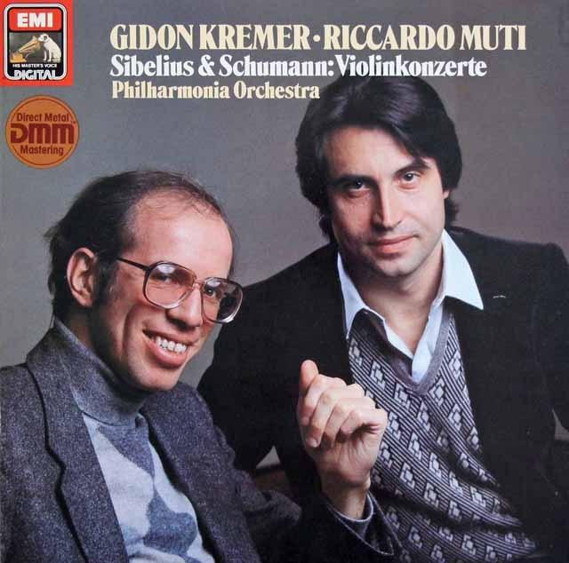 クレーメル&ムーティのシベリウス&シューマン/ヴァイオリン協奏曲集     独EMI 2950 LP レコード