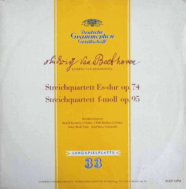 ケッケルト四重奏団のベートーヴェン/弦楽四重奏曲第10番「ハープ」&第11番「セリオーソ」 独DGG 2996 LP レコード