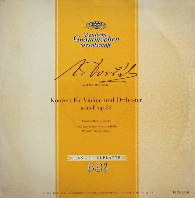 マルツィ&フリッチャイのドヴォルザーク/ヴァイオリン協奏曲 独DGG 2996 LP レコード