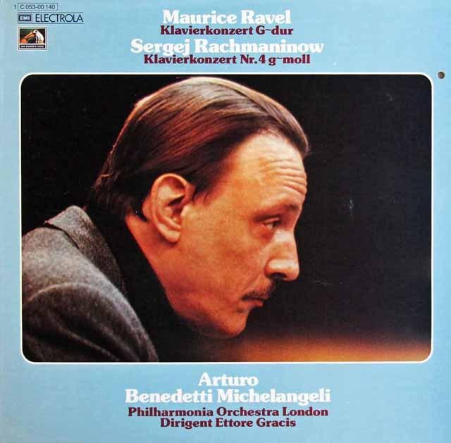 ミケランジェリ&グラチスのラヴェル&ラフマニノフ/ピアノ協奏曲集 独EMI 2996 LP レコード