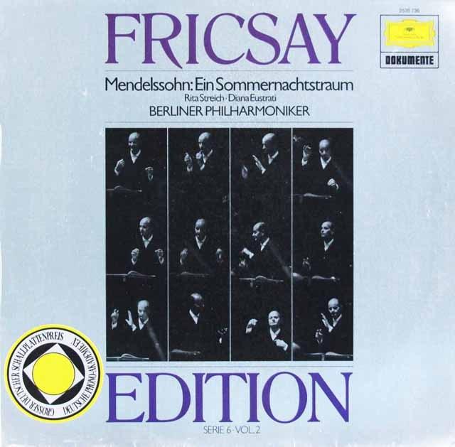 フリッチャイのメンデルスゾーン/「夏の夜の夢」  独DGG 2997 LP レコード