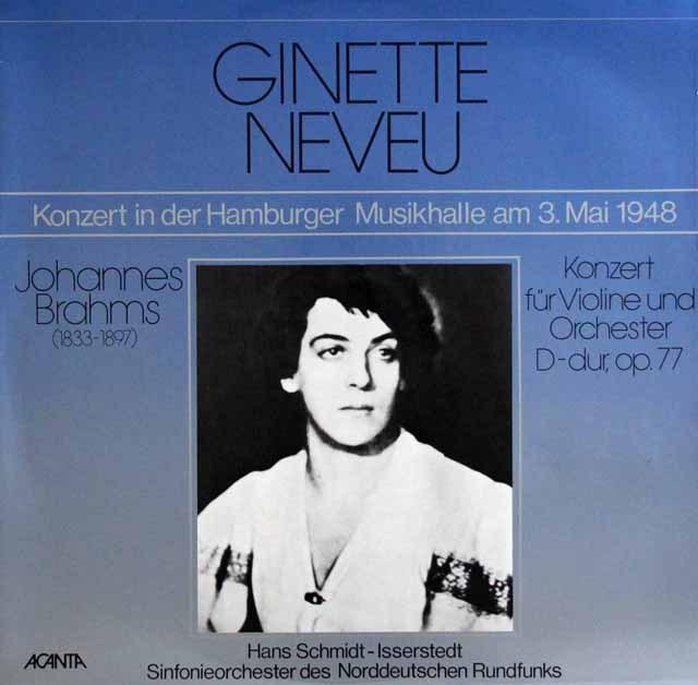 ヌヴー&イッセルシュテットのブラームス/ヴァイオリン協奏曲     独ACANTA 3002 LP レコード