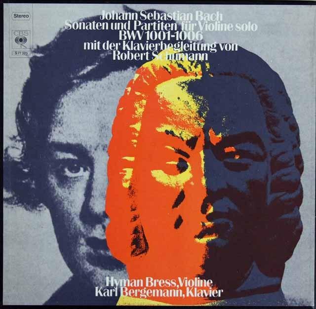 ブレスのバッハ(シューマン編)/無伴奏ヴァイオリンソナタ・パルティータ全曲  独CBS 3394 LP レコード