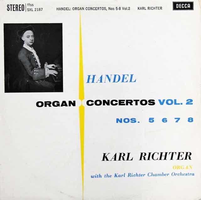 リヒターのヘンデル/オルガン協奏曲集 vol.2  英DECCA 3006 LP レコード