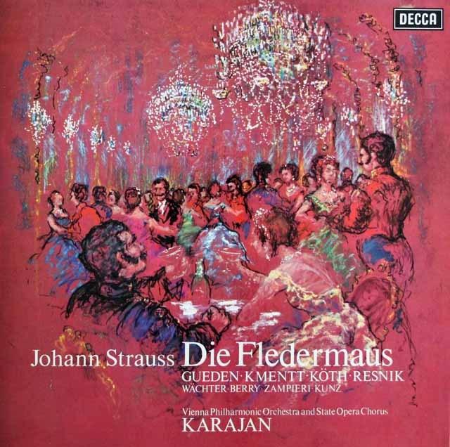カラヤンのJ.シュトラウス2世/「こうもり」全曲 英DECCA 3007 LP レコード