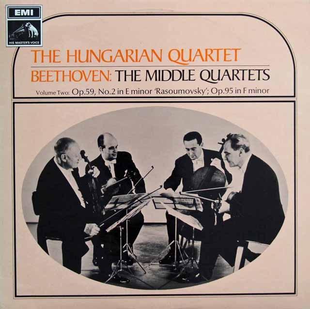 ハンガリー四重奏団のベートーヴェン/弦楽四重奏曲第8「ラズモフスキー第2」、11番「セリオーソ」  英EMI 3393 LP レコード