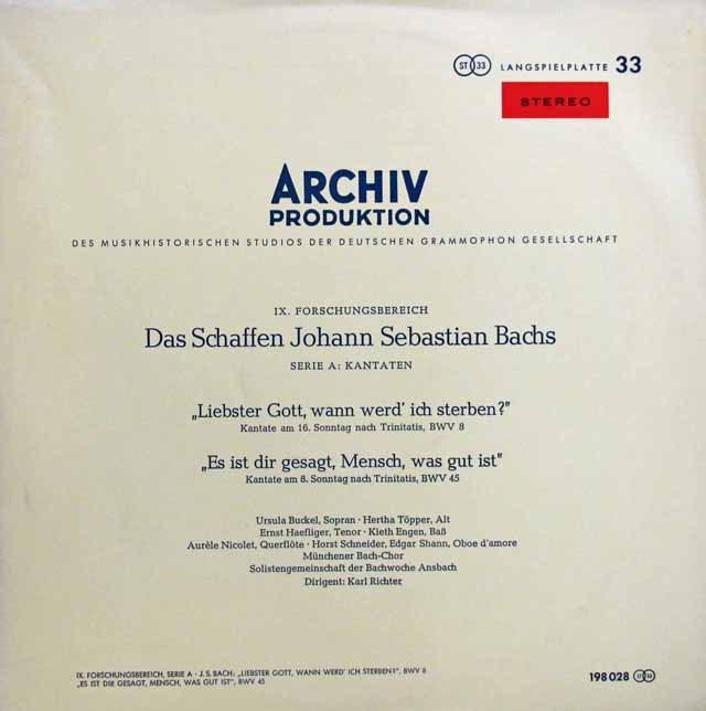 【独最初期盤】リヒターのバッハ/カンタータ「最愛の神よ、われいつの日に死なん」ほか  独ARCHIV 3008 LP レコード