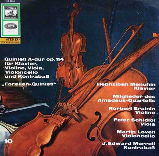 H.メニューイン&アマデウス四重奏団らのシューベルト/ピアノ五重奏曲「鱒」  独ELECTROLA 3009 LP レコード