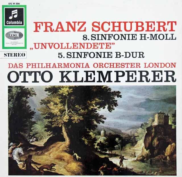 クレンペラーのシューベルト/交響曲第5&8番「未完成」  独Columbia 3011 LP レコード