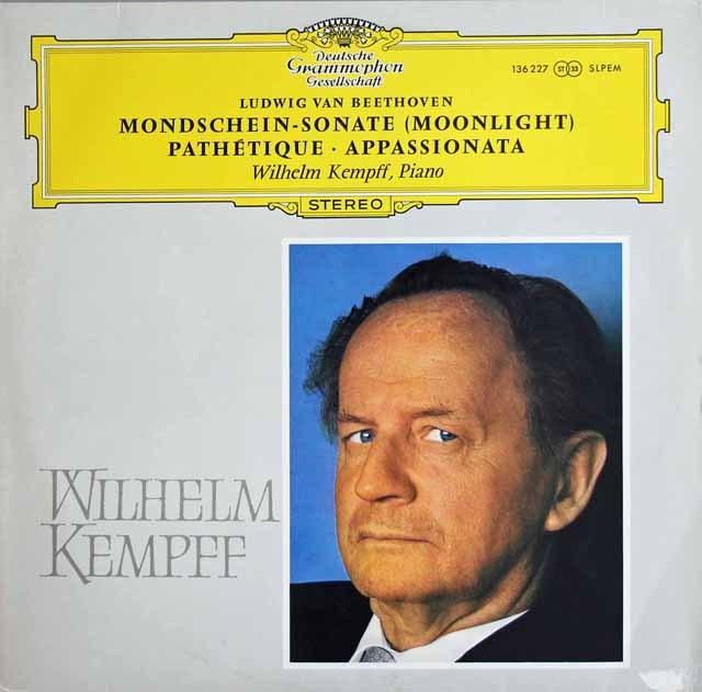 【独最初期盤】ケンプのベートーヴェン/ピアノソナタ「月光」、「悲愴」、「熱情」 独DGG 3012 LP レコード