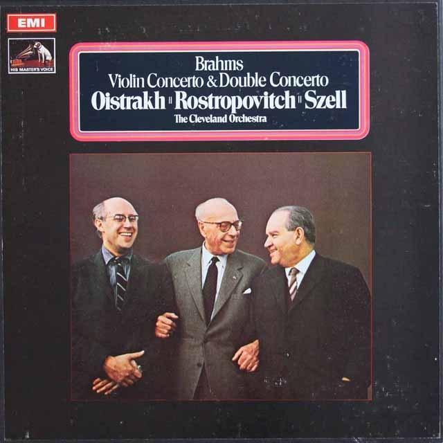 オイストラフ、ロストロポーヴィチ&セルのブラームス/ヴァイオリン協奏曲と二重協奏曲 英EMI 3012 LP レコード
