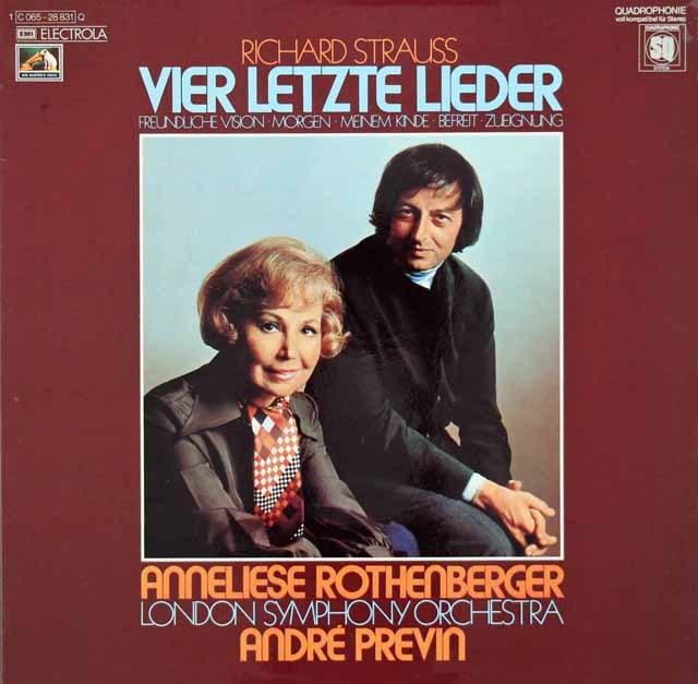 ローテンベルガー&プレヴィンのR.シュトラウス/4つの最後の歌 独EMI 3392 LP レコード