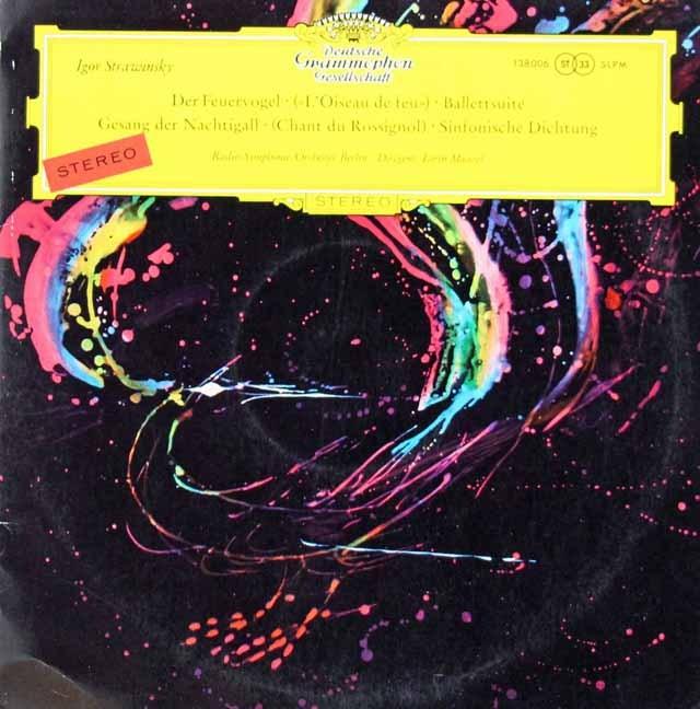 【細字ステレオ/赤ステレオ/独最初期盤】 マゼールのストラヴィンスキー/組曲「火の鳥」ほか 独DGG 3391 LP レコード