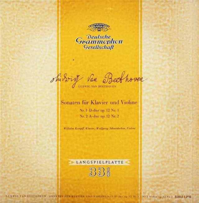 【独最初期盤】 ケンプ&シュナイダーハンのベートーヴェン/ヴァイオリンソナタ第1、2番 独DGG 3391 LP レコード