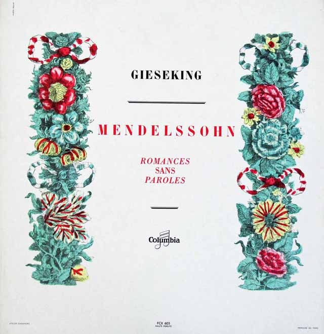 ギーゼキングのメンデルスゾーン/「無言歌集」より 仏Columbia 3014 LP レコード