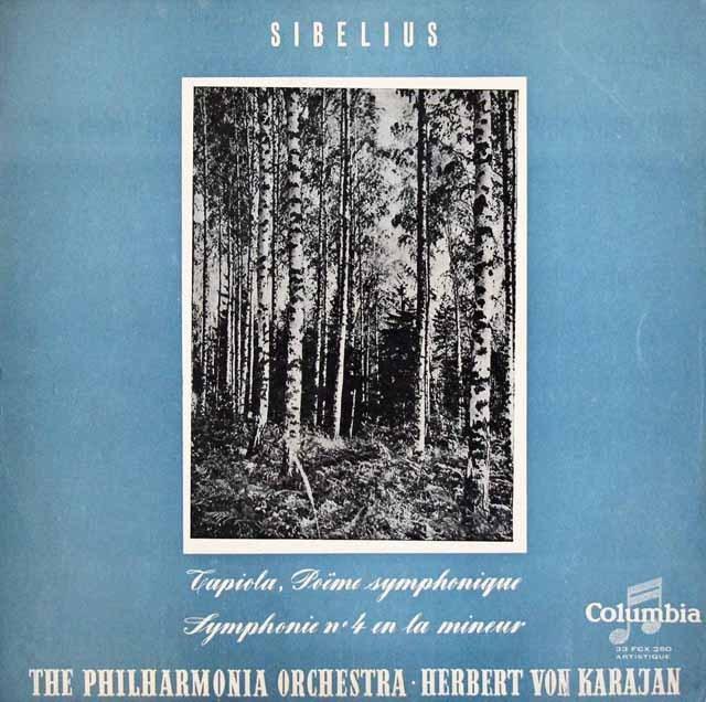 カラヤンのシベリウス/交響曲第4番&「タピオラ」 仏Columbia 3014 LP レコード