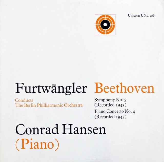 フルトヴェングラーのベートーヴェン/交響曲第5番「運命」ほか 英Unicorn 3105 LP レコード