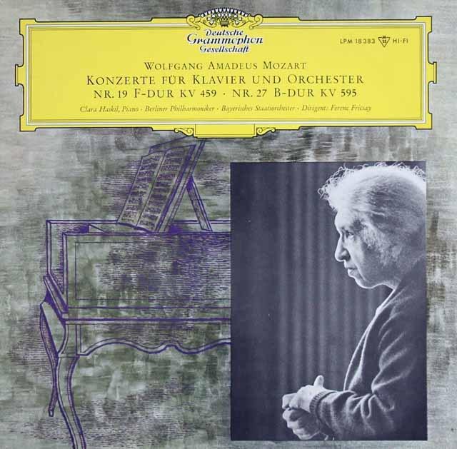 ハスキル&フリッチャイのモーツァルト/ピアノ協奏曲第19&27番 独DGG 3015 LP レコード