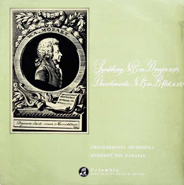 【オリジナル盤】カラヤンのモーツァルト/交響曲第35番「ハフナー」ほか  英Columbia 3015 LP レコード