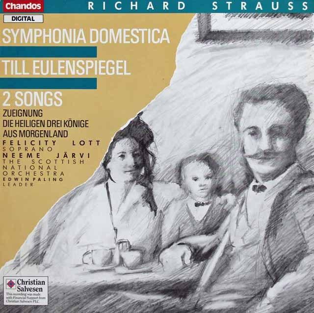 ヤルヴィのR.シュトラウス/「家庭交響曲」ほか 英Chandos 3391 LP レコード