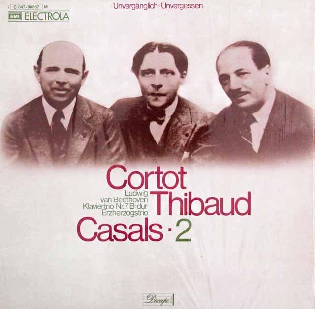 コルトー、ティボー&カザルスのベートーヴェン/ピアノ三重奏曲「大公」 独EMI 3016 LP レコード