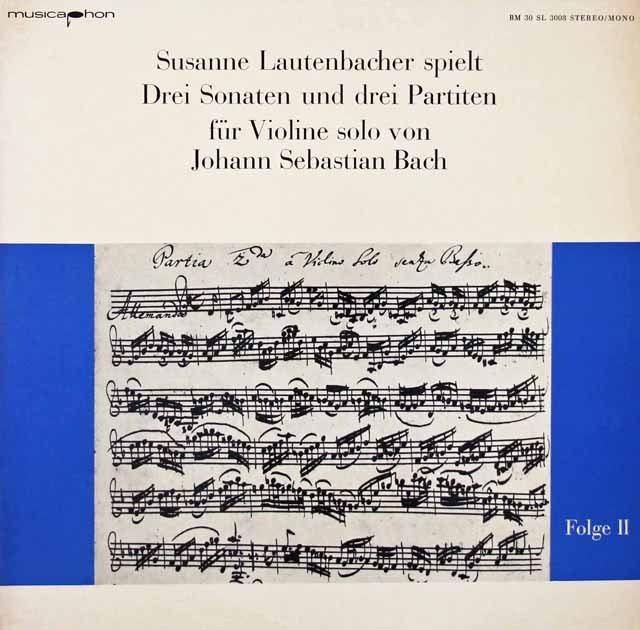 ラウテンバッハーのバッハ/無伴奏ヴァイオリンソナタ&パルティータ第2番  独musicaphon 3018 LP レコード