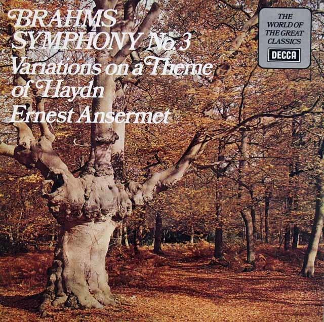 アンセルメのブラームス/交響曲第3番ほか   英DECCA 3020 LP レコード