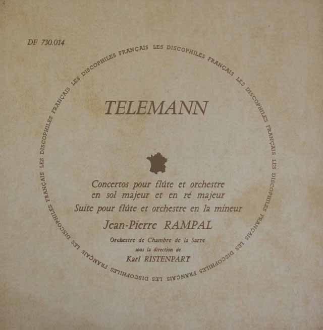 ランパル&リステンパルトのテレマン/フルート協奏曲集  仏DF 3020 LP レコード