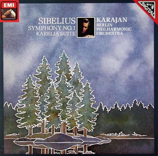 カラヤンのシベリウス/交響曲第1番&「カレリア」組曲   独EMI 3021 LP レコード