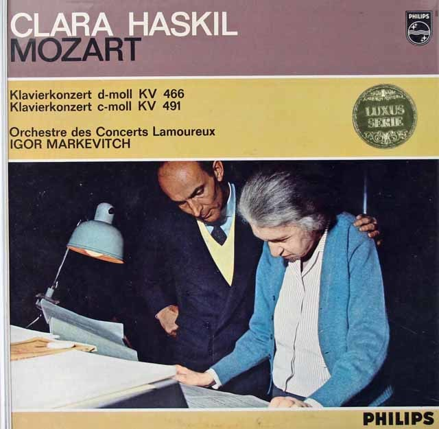 【モノラル】ハスキル&マルケヴィチのモーツァルト/ピアノ協奏曲第20&24番 蘭PHILIPS 3022 LP レコード